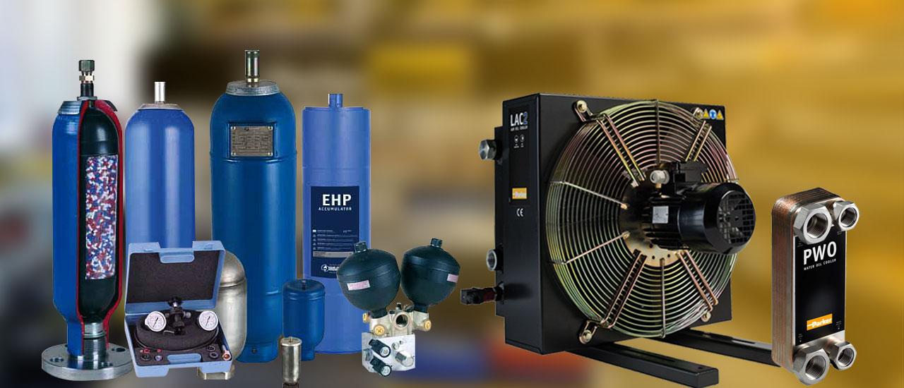 Chłodnice oleju <br>i akumulatory hydrauliczne