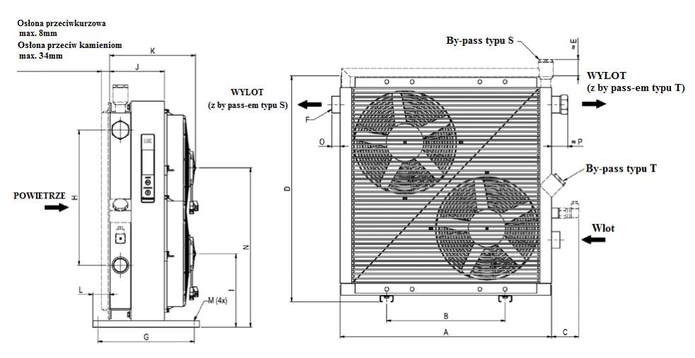 Chłodnica oleju typu LDC z silnikiem prądu stałego - wymiary