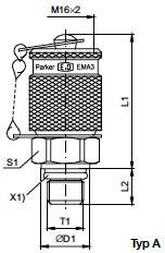 EMA3 Przyłączka pomiarowa z połączeniem gwintowym M 16x2 - rysunek