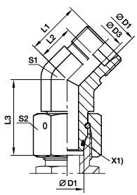 EV Złączka kolankowa 45 stopni z nakrętką obrotową - rysunek