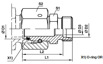 RED Łącznik redukcyjny stożka 24 stopni z nakrętką obrotową - rysunek