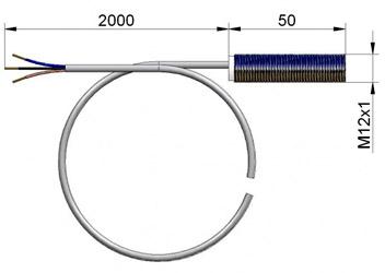 Indukcyjny czujnik otwarcia dla zaworów motylkowych - wymiary