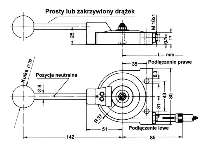 Manetka gazu do linki pchająco-ciągnącej - wymiary
