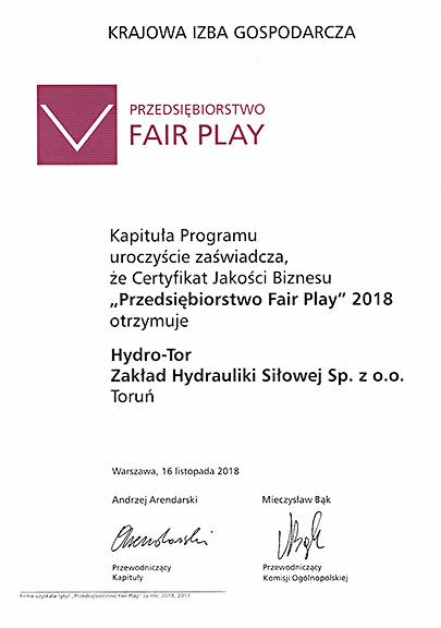 """Hydro-Tor Zakład Hydrauliki Siłowej w Toruniu producent komponentów hydrauliki siłowej ponownie """"Przedsiębiorstwem Fair Play""""!"""